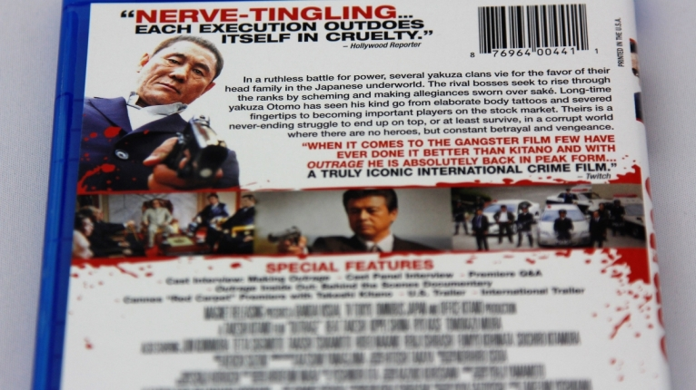 『アウトレイジ』北米版Blu-rayパッケージ裏面