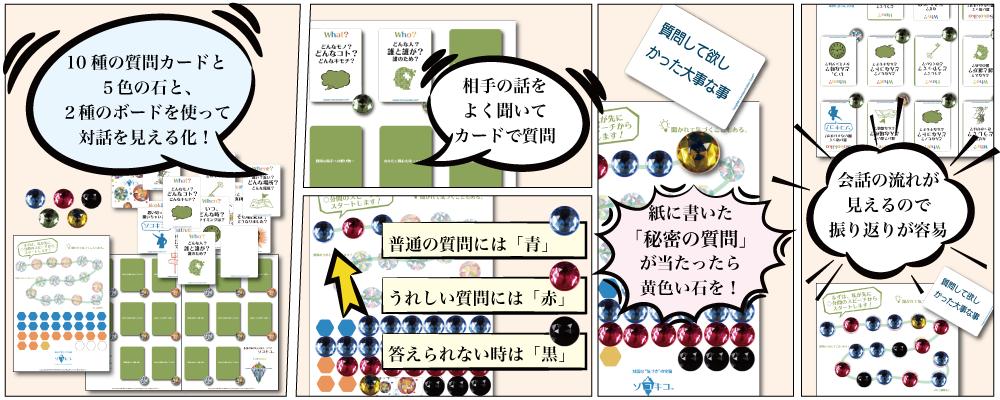ソコキコは10種の質問カードと5色の石、2種のボードを使って会話の流れを可視化するツールです